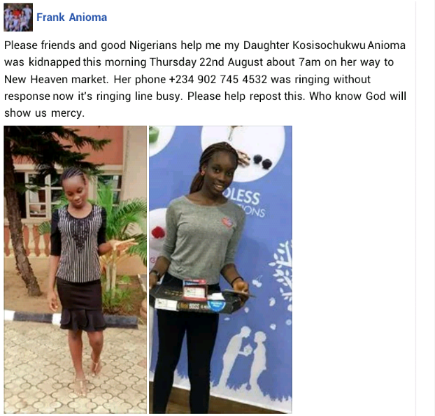 daughter2 - Enugu State: Daughter of former Governor's aide kidnapped