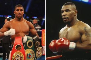joshua and tyson 300x200 - Anthony Joshua reacts to Mike Tyson's expected heavyweight boxing return