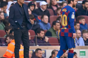 messi and coach 300x200 - See What Messi Said about Barcelona Coach, Quique Setien