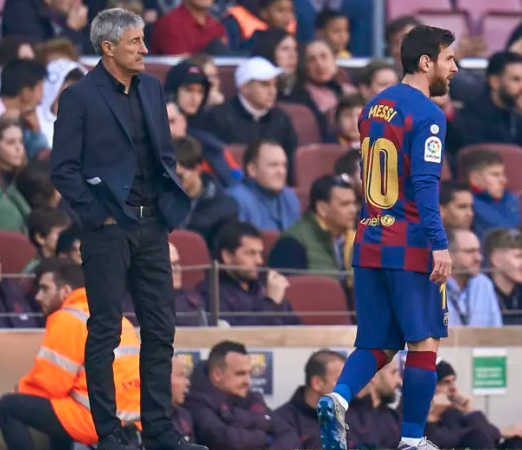messi and coach 522x450 - See What Messi Said about Barcelona Coach, Quique Setien