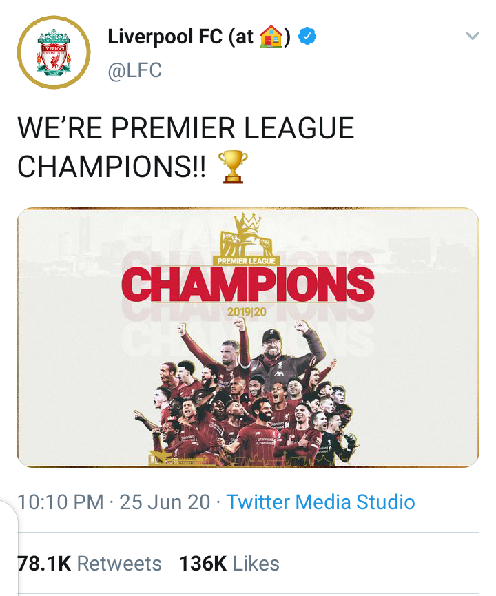 liverpool champions3 - Liverpool are now champions of the English Premier League